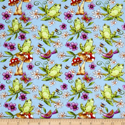 Garden Glory Frogs Light Blue Fabric