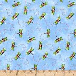 Garden Glory Dragonfly Light Blue Fabric