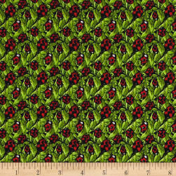 Garden Glory Ladybugs Green Fabric