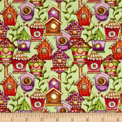 Garden Glory Birdhouses Light Green Fabric