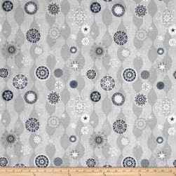 Icy Winter Silver Metallic Snowflakes Gray Fabric