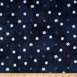 Icy Winter Silver Metallic Small Snowflakes Navy