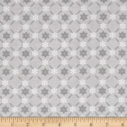 Icy Winter Silver Metallic Snowflake Stripe Gray Fabric
