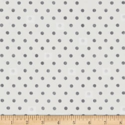 Magical Moments Silver Metallic Dots White Fabric