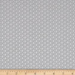 Magical Moments Silver Metallic Dotted Circles White Fabric