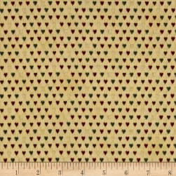 Magical Moments Gold Metallic Mini Hearts Beige Fabric