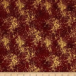 Magical Moments Gold Metallic Texture Red Fabric