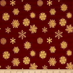 Magical Moments Gold Metallic Snowflakes Red Fabric
