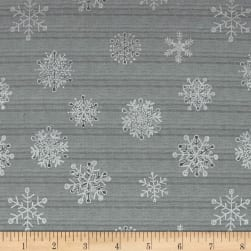 Magical Moments Silver Metallic Snowflakes Mint Fabric