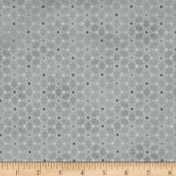 Magical Moments Silver Metallic Attached Stars Gray Fabric