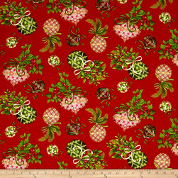 Art Loft Holiday Flair Metallic Ornaments Red Fabric
