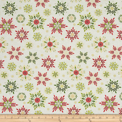 Art Loft Holiday Flair Metallic Snowflakes Cream Fabric