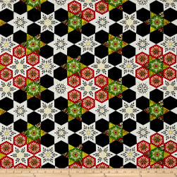 Art Loft Holiday Flair Metallic Hex-star Snowflake Quilt Black