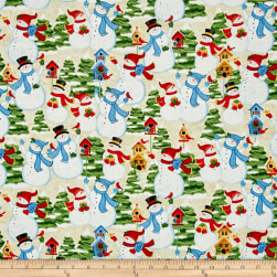 Sharla Fults Winter Joy Snowman Scenic Cream Fabric