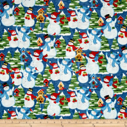 Sharla Fults Winter Joy Snowman Scenic Blue Fabric