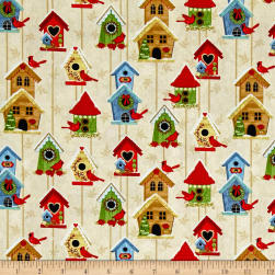 Sharla Fults Winter Joy Bird Houses Cream Fabric