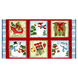 Sharla Fults Winter Joy Winter Joy Boxes 24'' Panel Red Fabric