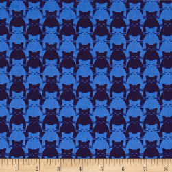 Yolanda Fundora Kitty Kitty Tonal Cat Blue Fabric