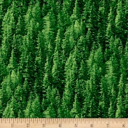 Natural Treasures 2 Pine Trees Green Fabric