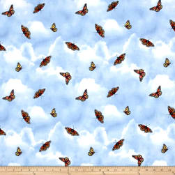Lennie Honcoop Prairie Gate Butterflies Light Blue Fabric