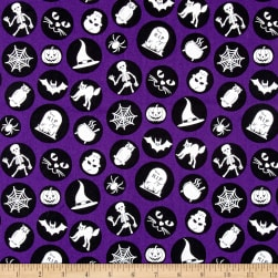 Ready Set Glow In The Dark Halloween Motifs Purple Fabric