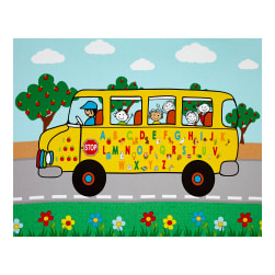 School Rules! 35'' Schoolbus Panel Yellow Fabric