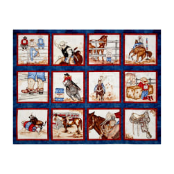 "Western Denim & Dirt Rodeo Up! Blocks 35"" Panel Blue"