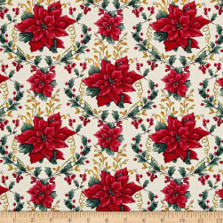 Holiday Trimmings Poinsettias Ivory Fabric