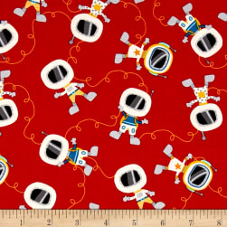 Space Adventure Mini Astronauts Red Fabric