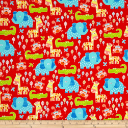 Diane Eichler Swingin' Safari Animal Allover Red Fabric