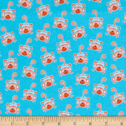 Diane Eichler Swingin' Safari Monkeys Blue Fabric