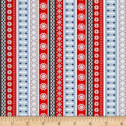 Natalie Alex Snow Delightful Fair Isle Stripe Gray/Red Fabric