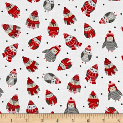 Natalie Alex Snow Delightful Tossed Owls White Fabric