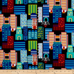 Sarah Frederking Super Heroes Cityscape Multi Fabric