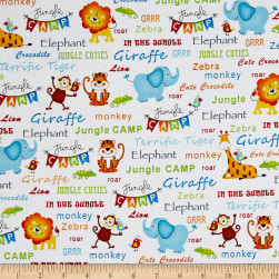 Jungle Camp Jungle Animals & Words White