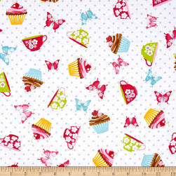 Cupcake Cafe Cupcake Toss White Fabric