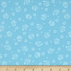 Cupcake Cafe Tone On Tone Turquoise Fabric