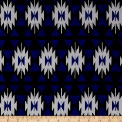 ITY Stretch Jersey Knit Aztec Ikat Print Royal