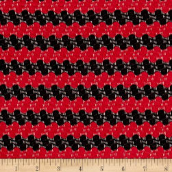 Stretch Jacquard Knit Stripe Red/Black Fabric