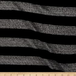 Sweater Knit Black & Silver lurex  Stripes Black