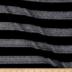 Sweater knit With Silver lurex Stripes Navy Fabric