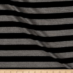 Sweater knit With Silver lurex Medium Blk Stripes
