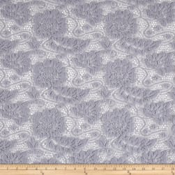 Lace Floral Chenille Textured Gray Fabric