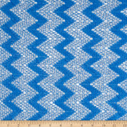 Crochet Lace Chevron Sky Blue/White Fabric