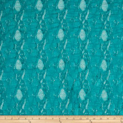 Stretch Lace Oval Floral Teal Fabric