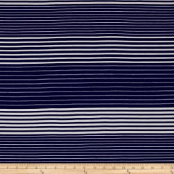 Rayon Jersey Knit Alternate Stripe White/Navy Fabric