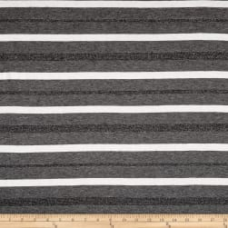 Jersey Knit Metallic Double Stripe White/Grey Fabric
