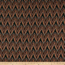 Rayon Crepe Chevron Peach/Mustard/Green Fabric