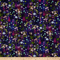 Wildwood Way Digiprint Under The Moonlight Delphinium Fabric