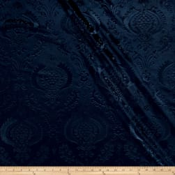 Damask Embossed Velvet Navy Fabric